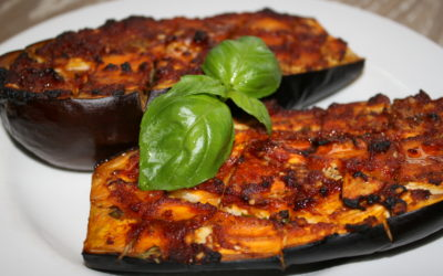 garlic & basil roasted eggplant