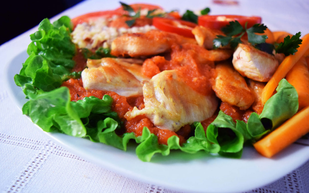 Crispy Chicken With Vegetables in a Tomato & Herb Sauce
